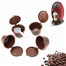 4 Pcs Refillable Coffee Capsules Cup Filters with 1 Pc Plastic Spoon