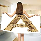 smallbeefly Letter A Bath Towel Steampunk Mechanical Alphabet Letter Font A Photo Compilation Cogwheel Clench Customized Bath Towels Sand Brown Size: W 19.5'' x L 39.10''
