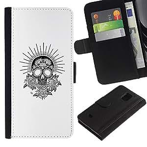 ZCell / Samsung Galaxy S5 Mini, SM-G800 / White Black Sun Skull Flowers Rose / Caso Shell Armor Funda Case Cover Wallet / Blanco Negro Sol cr&aac