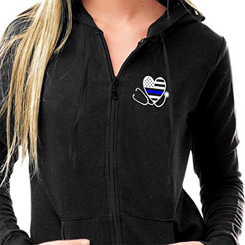 (Law Enforcement Police and Nursing Thin Blue Line Flag Stethoscope Round Neck Long Sleeve Light Sherpa Lined Full Zip Cotton Fleece Hoodies Athletic Wear Sweater Work Out Gym Jacket for)
