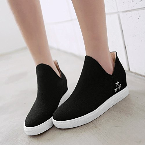 Latasa Womens Chic Faux Nubuck Star Studded Inside Wedge Slip On Loafers Shoes, Comfort Shoes Black