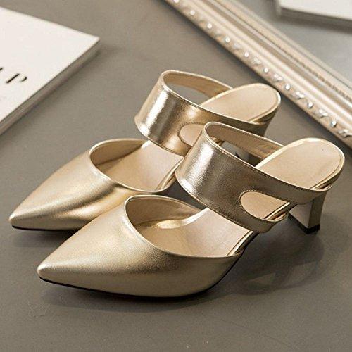 TAOFFEN Women Summer Shoes Closed Toe Heels Mules Gold-1 Hy6Kt