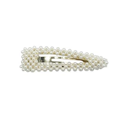 7ce0c2b413313 RingBuu Hair Clip - Women Bridal Vintage Faux Pearl Wrapped BB Hairpins  Girls Glitter Gold/