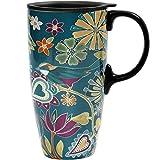 CEDAR HOME Coffee Ceramic Mug Porcelain Latte Tea Cup With Lid 17oz. Floral Symphony, Teal