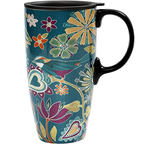 CEDAR HOME Coffee Ceramic Mug Porcelain Latte Tea Cup With Lid 17oz. Floral Symphony, Teal