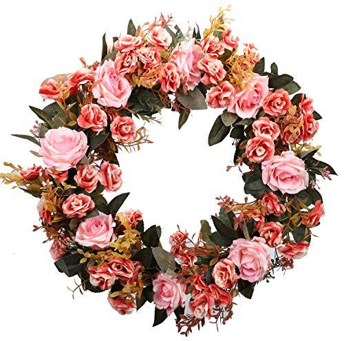 Duovlo Rose Floral Twig Wreath 19 Inch Handmade Artificial Flowers Garland Front Door Wreath -
