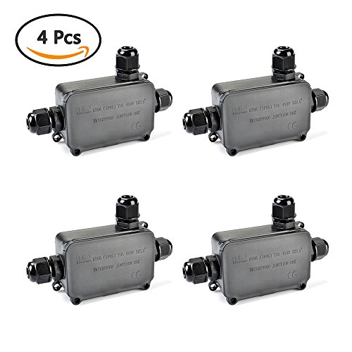 ATPWONZ Junction Box IP66 Waterproof Outdoor 3-cable PG9 Plastic Protection Connector Black Pack of 4