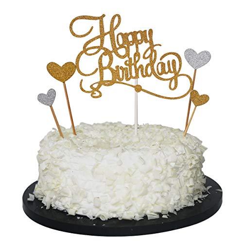 (Sunny ZX Happy birthday cake topper - Gold glitter Monogram Birthday cake toppers -Birthday party decoration Gold glitter-Love)