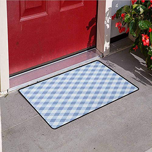 GloriaJohnson Geometric Front Door mat Carpet Diamond Rhombus Pattern Checkered Grid Style Mosaic Composition Machine Washable Door mat W29.5 x L39.4 Inch Slate Blue and Baby Blue