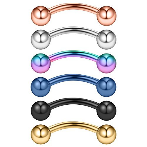 Ruifan 6PCS Assorted Colors Eyebrow Piercing Jewelry Curved Barbell Snake Eyes Tongue Navel Belly Tragus Lip Ring 14g 14 gauge 12mm