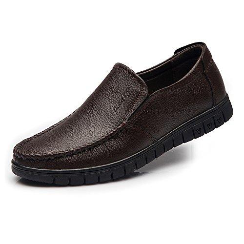 los Deslizador Zapatos de Deslizador los los Holgazanes Hombres Informal ZX Genuino la conducción Hombres en para de de Oscuro Holgazanes de de Cuero Marron los Moda Zapatos Respirables xqAqZw1