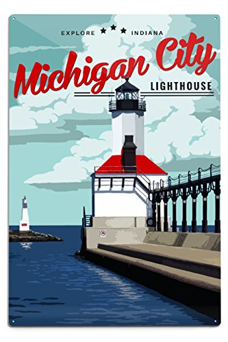 Lantern Press Indiana - Michigan City Lighthouse (12x18 Aluminum Wall Sign, Wall Decor Ready to Hang) (Michigan City Lighthouse)