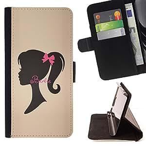 "For Motorola Moto E ( 2nd Generation ),S-type La cinta de Brown Silueta Señora"" - Dibujo PU billetera de cuero Funda Case Caso de la piel de la bolsa protectora"