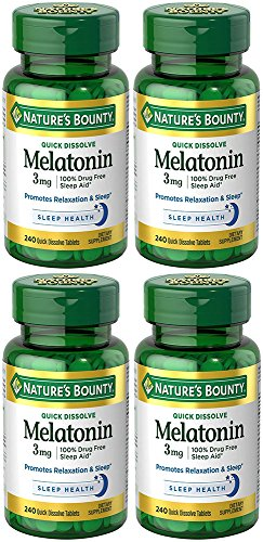 Melatonin 3 mg, 4 Bottles (240 Count) by Nature's Bounty (Image #1)