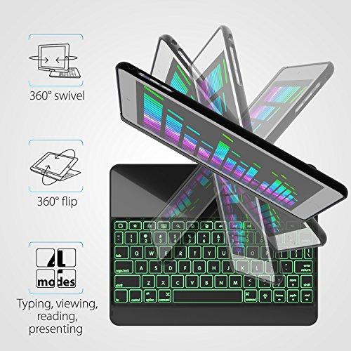 iPad Keyboard Case for iPad 2018 (6th Gen) - iPad 2017 (5th Gen) - iPad Pro 9.7 - iPad Air 2 & 1 - Thin & Light - 360 Rotatable - Wireless/BT - Backlit 7 Color - iPad Case with Keyboard (9.7, Black) by YEKBEE (Image #3)