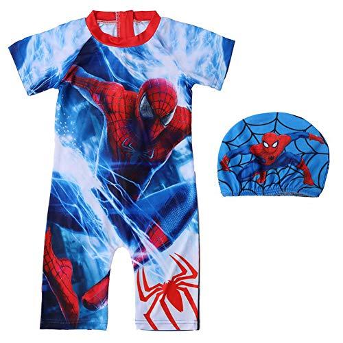 FENGFANG Spideman Bathingsuit,Kids One Piece Spiderman Swimsuits Short Sleeve Zip Beachwear(3T-7T) Blue (Swimsuit Euro)