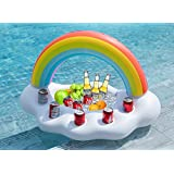 Jasonwell Inflatable Rainbow Cloud Drink Holder Floating Beverage Salad Fruit Serving Bar Pool Float Party Accessories Summer Beach Leisure Cup Bottle Holder Water Fun Decorations Toys Kids Adults