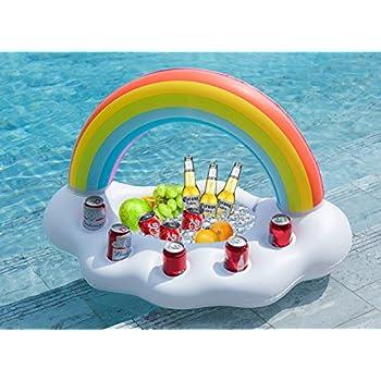 Jasonwell Inflatable Rainbow Cloud Drink Holder Floating Beverage Salad  Fruit Serving Bar Pool Float Party Accessories