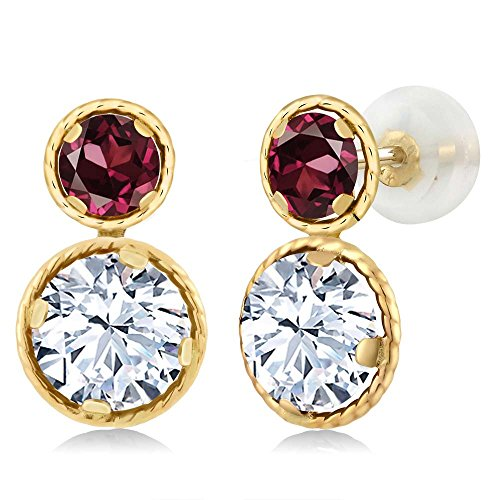 Gem Stone King 2.42 Ct Round White Zirconia Red Rhodolite Garnet 14K Yellow Gold Earrings