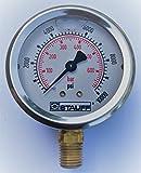 Stauff 2.5'' Hydraulic Pressure Guage, Stainless, 10000 psi, 1/4'' NPT, Stem Mount