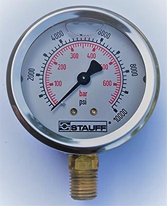 stauff 2 5 hydraulic pressure guage stainless 10000 psi 1 4 npt