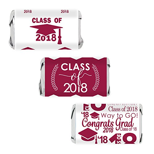 Class of 2018 Graduation Miniatures Candy Bar Wrapper Stickers, Set of 54 (Maroon) Theme Candy Wrappers