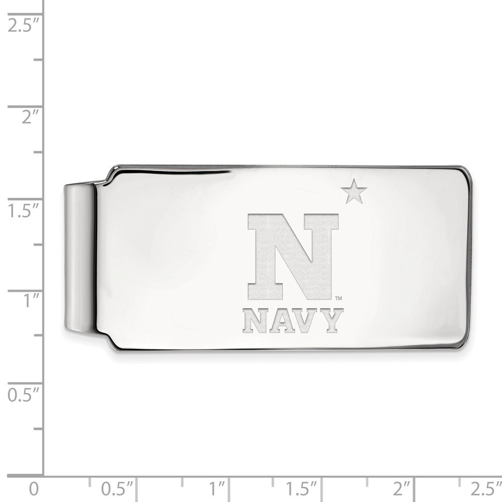Solid 14k White Gold Big Heavy Navy Money Clip 55mm x 26mm