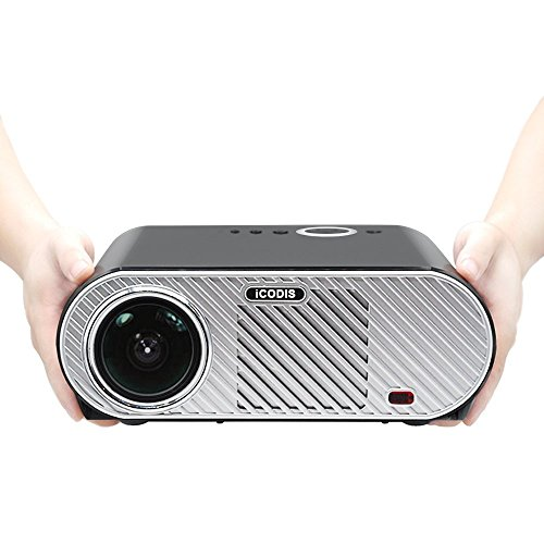 iCODIS G6 Video Projector, Supports 1080P, 3200 Lumens LCD, HD Resolution, 3000:1 Static, Multimedia Home Theater Digital Projector.]()