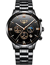 Men's Watches Classic Black Quartz Analog Steel Wrist Watch Chronograph Date Display with Roman Number Time Mark