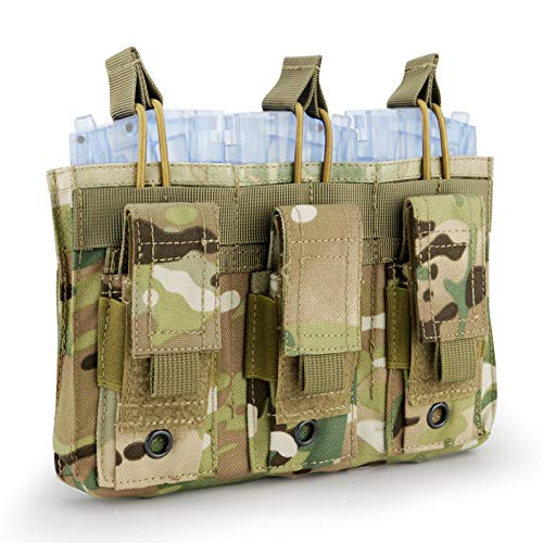 (Aoutacc Double/Triple Tactical Mag Pouch, Double Stack Pouch Can Hold Kangaroo Rifle Magazines and Pistol Mag (Triple-Cp))