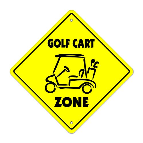 "Golf Cart Crossing Sign Zone Xing | Indoor/Outdoor | 12"" sport golfer golfing widow lover player funny"