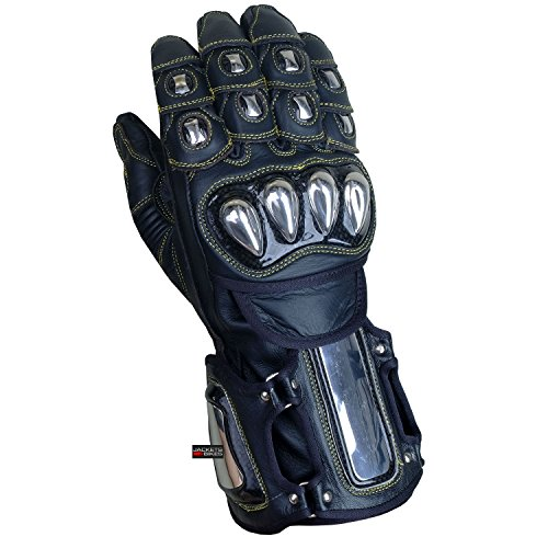EXCALIBUR BLACK LEATHER CARBON & STEEL ARMOR MOTORCYCLE GLOVES SIZE M