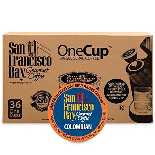 San Francisco Bay OneCup Colombian Supremo (36 Count) Single Serve Coffee Compatible with Keurig K-cup Brewers Single Serve Coffee Pods, Compatible with Cuisinart, Bunn, iCoffee single serve brewers (State Yard Art)