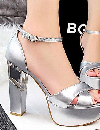 LFNLYX Chaussures Femme-Décontracté-Noir / Rouge / Blanc / Argent / Gris / Amande-Gros Talon-Talons / Bout Ouvert-Sandales-Similicuir , white , us6 / eu36 / uk4 / cn36