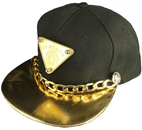 Black Designer Snapback Cap Medusa Logo Crown Shiny Gold Bill Cuban Chain  Attached - Buy Online in Oman.  b9a6b2547068