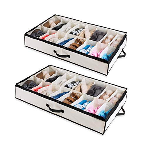 Woffit Under The Bed Shoe Organizer Fits 12 Pairs - Made with Sturdy & Breathable Materials - Set of 2 Underbed Storage Solution for Kids & Adults (Men & Women) Shoes