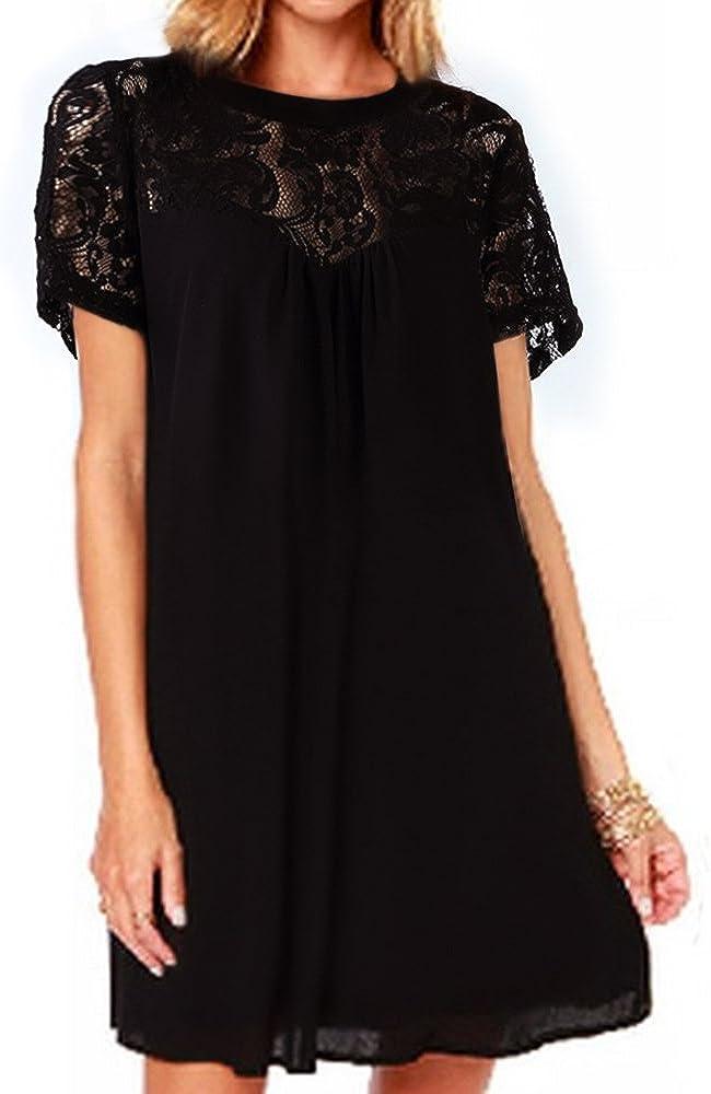 vanberfia Women's Lace Loose Casual Chiffon Dress
