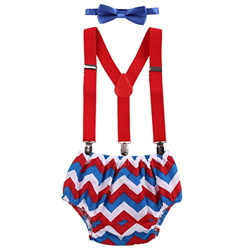 Baby Boys Cake Smash Outfit First Birthday Bloomers Bowtie Adjustable Y Back Suspenders Clothes set Rainbow Red Striped One Size ()