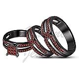 ArtLine Jewels 2.10 Carat Round Cut Red Garnet 14k Black Gold Plated Unisex Wedding Trio Ring Set