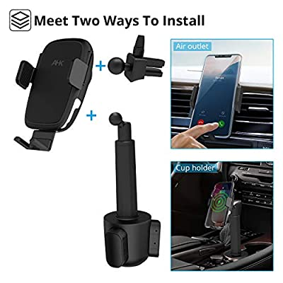 AHK Car Cup Holder Phone Mount, Phone Cup Holder for Car,10W Qi Fast Charging Auto-Clamping Car Mount,Wireless Fast Charging Air Vent Phone Mount Compatible with iPhone Xs/MAX/XR/XS/X/8/8 Plus, Samsun