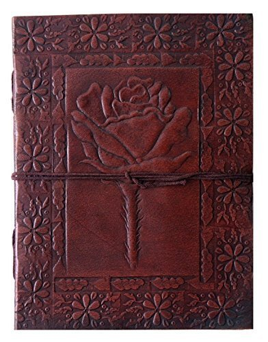 QualityArt Handmade Leather Journal Leather Notebook Rose Diary Sketchbook Travel Blank Book 8x6 Inches Brown