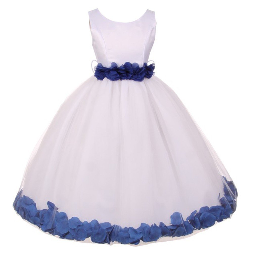 Amazon Big Girls White Royal Blue Floral Petals Adorned Junior
