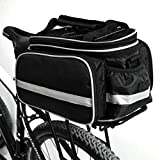 Bicycle Pannier, Bodecin Outdoor Waterproof Multi- function Portable Bicycle Pack Bike Pannier Carrying Luggage Package Rack Panniers Rear Seat Trunk Bag with Rainproof Cover