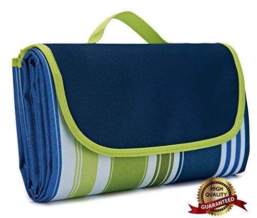 AIOLOC Large Picnic Blanket Dual Layers For Outdoor Waterproof Handy Mat Tote Spring Summer Camping on Grass,Beach Blanket Sandproof Stripe Green by AIOLOC