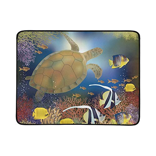 ZXWXNLA Underwater Wallpaper with Sea Turtle Vector Illus Pattern Portable and Foldable Blanket Mat 60x78 Inch Handy Mat for Camping Picnic Beach Indoor Outdoor Travel