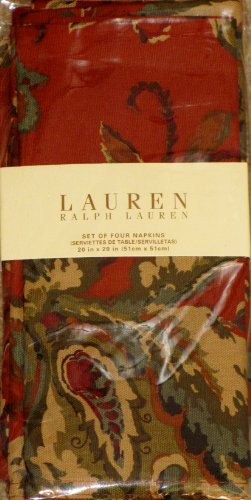 Lauren Ralph Lauren Hadley Floral Print Table Linens / Napkins 20 X 20 Inches Set of 4 Dinner Napkins Holiday Fall Burnt Ora