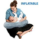 The Original Inflatable Nursing Pillow with Slipcover: Portable Breastfeeding Support Cushion with Removable Plush Minky Cover - Compact Breast Feeding Pillow for Traveling - No More Sore Muscles!: more info