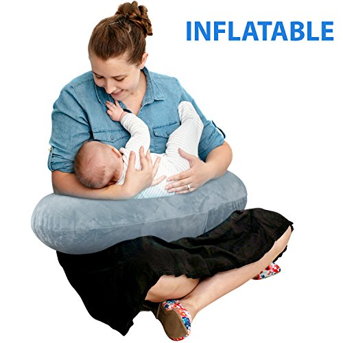 (The Original Inflatable Nursing Pillow with Slipcover: Portable Breastfeeding Support Cushion with Removable Plush Minky Cover - Compact Breast Feeding Pillow for Traveling - No More Sore Muscles!)