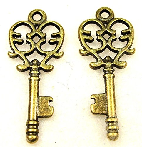 10Pcs. Tibetan Antique Bronze Key Charms Pendants Earring Drops Findings LK65 Crafting Key Chain Bracelet Necklace Jewelry Accessories Pendants from Moon