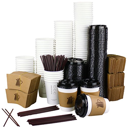 100 Pack - 12 Oz Disposable Coffee Cups with Lids, Sleeves & Stirrer Great for Hot Beverages in Home, Office, Coffee Shop, School, Family Reunions Complete Set, Snap fit Lids & No Leaks (Jumbo White Coffee Cups)